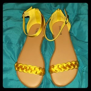 Torrid Yellow Santin Braided Sandals